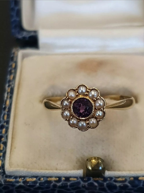 18ct Yellow Gold Edwardian Amethyst And Seed Pearl Ring