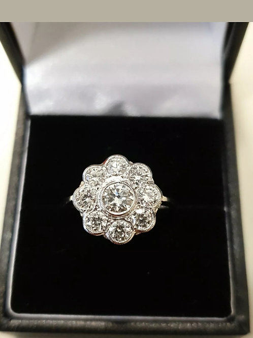 18ct & Platinum Diamond Daisy Cluster Ring 1.6ct