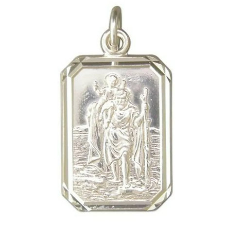 St Christopher, Sterling Silver 925, Oblong