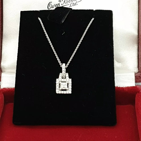18ct White Gold, Assched Cut Diamond Necklace. 50pts