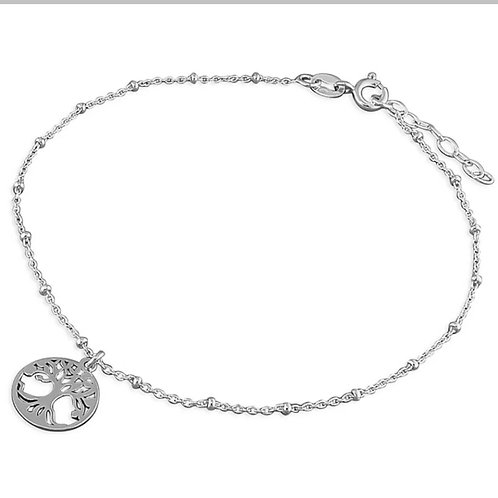 Tree Of Life, Sterling Silver 925 Ankle Bracelet
