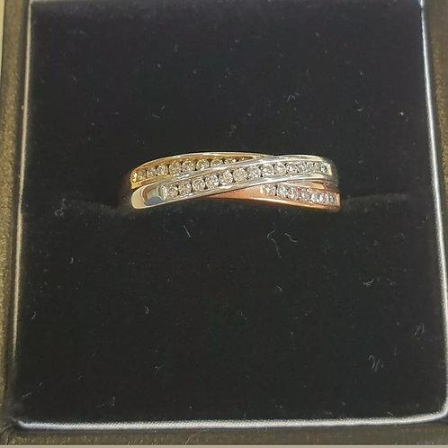 9ct Yellow, White And Rose Gold Diamond Ring