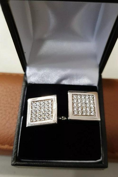 BRAND NEW Sterling Silver CZ Cufflinks