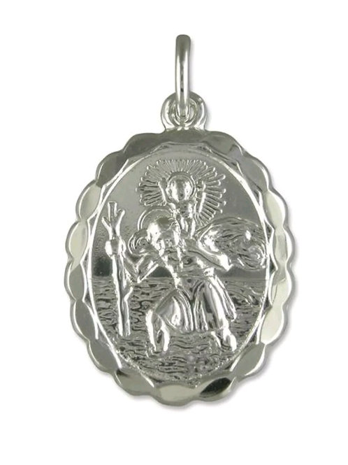 St Christopher, Sterling Silver 925, Oval, Double Sided