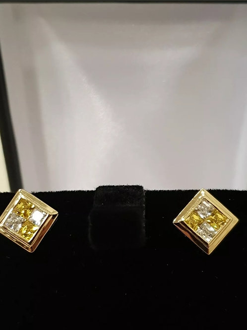 14ct Yellow Gold, Yellow and White stone Earrings