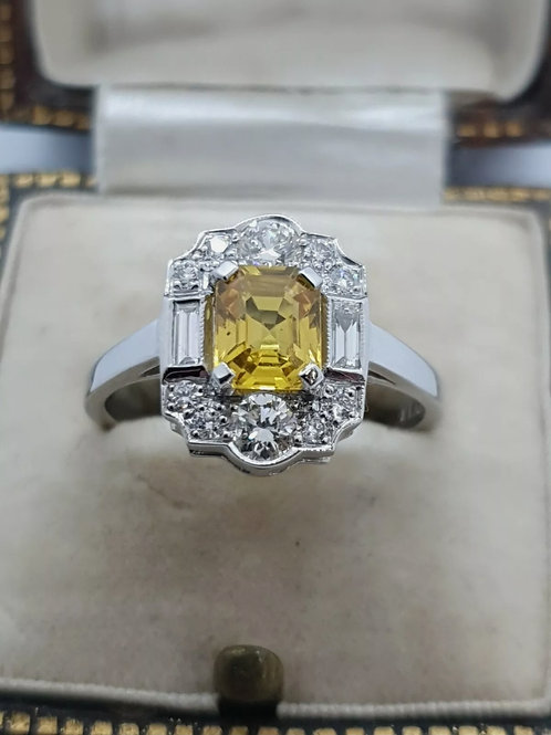 Art Deco Style Platinum Yellow Sapphire And Diamond Ring