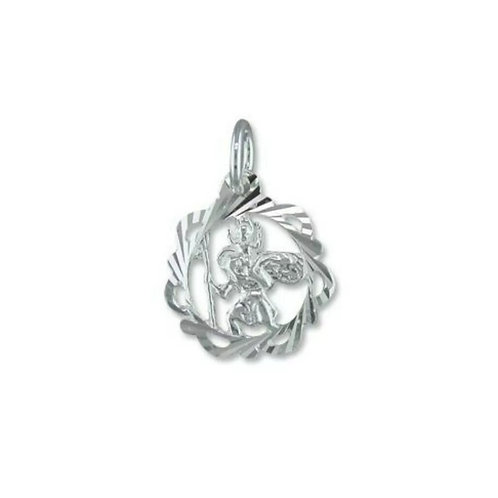 St Christopher, Sterling Silver 925, Open Diamond Cut, 13mm Diameter