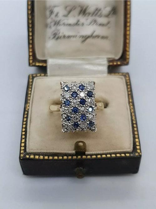 Vintage 18ct Diamond And Sapphire Ring