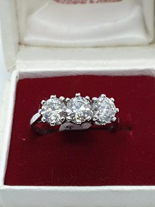Vintage 18ct And Platinum Trilogy Diamond Ring 1.55ct