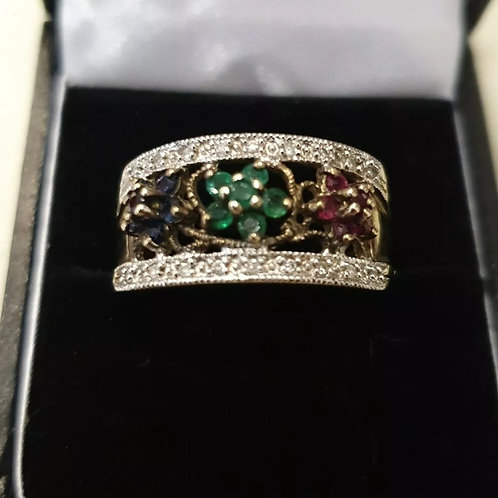 9ct Ruby, Sapphire, Emerald And Diamond Band Ring