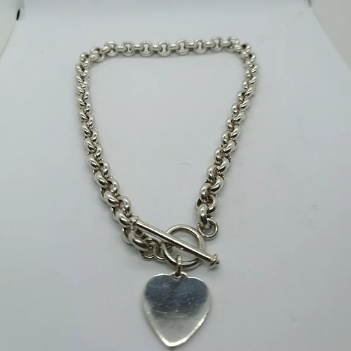 Heart and T-Bar Sterling Silver 925 Necklace
