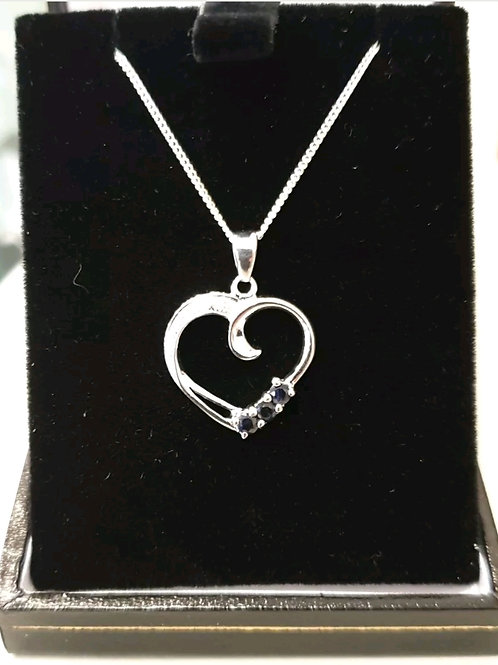 BRAND NEW Sterling Silver Sapphire And Diamond Necklace