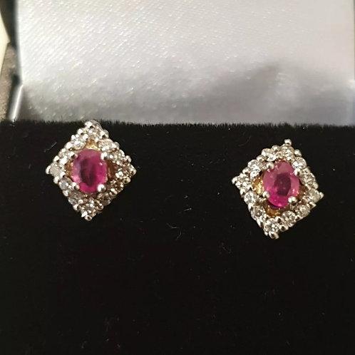 9ct Ruby And Diamond Stud Earrings