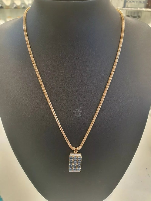 9ct Yellow gold necklace set with cabochon Sapphire and Diamonds