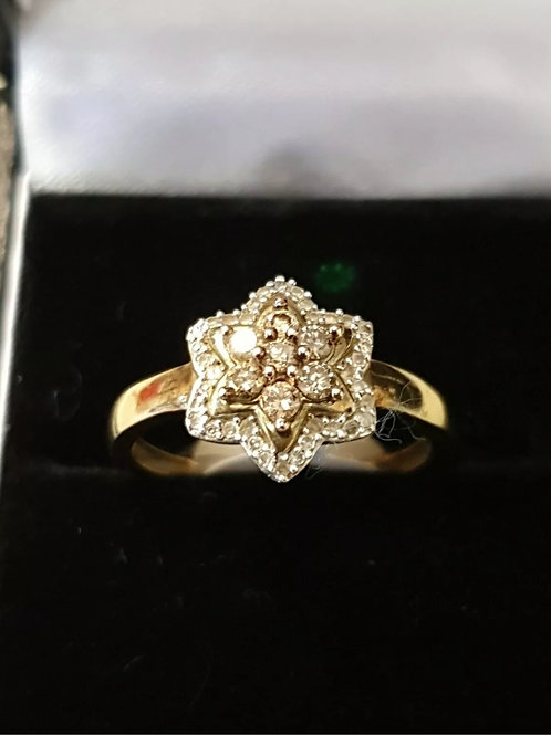 9ct Cognac & White Diamond Ring