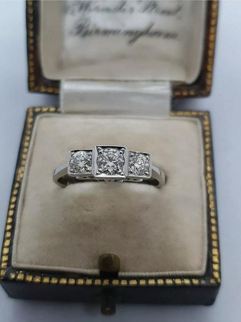 Vintage Platinum 3 Stone Diamond Trilogy 3/4 75pts