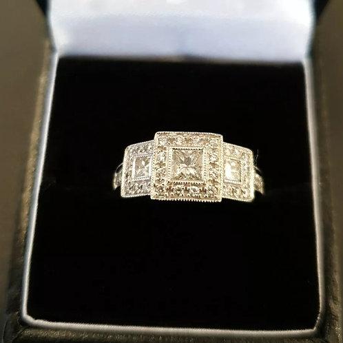 18ct White Gold Diamond Ring 1ct Total