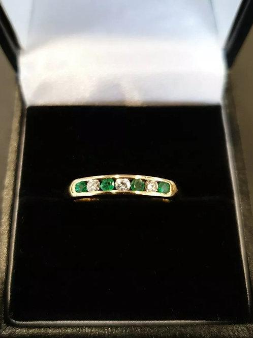 18ct Emerald And Diamond Half Eternity Ring