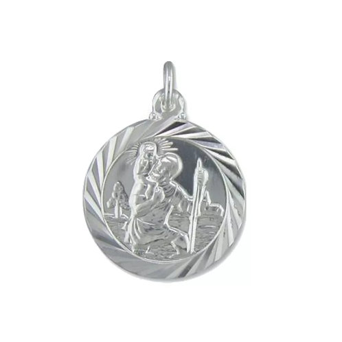 St Christopher, Sterling Silver 925, Double Sided, 20mm Diameter