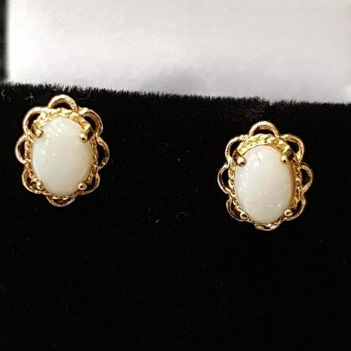 9ct yellow gold, opal stud earrings