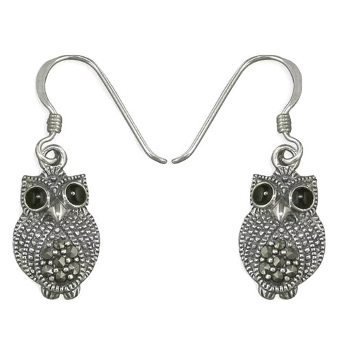 Marcasite, Owl Sterling Silver 925 Earrings