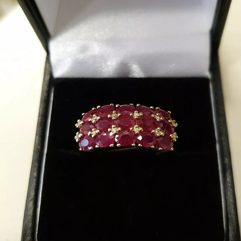 9ct yellow gold, Ruby And Diamond Ring
