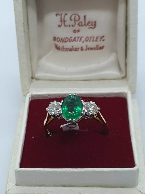18ct yellow gold emerald and diamond trilogy... 3 stone ring