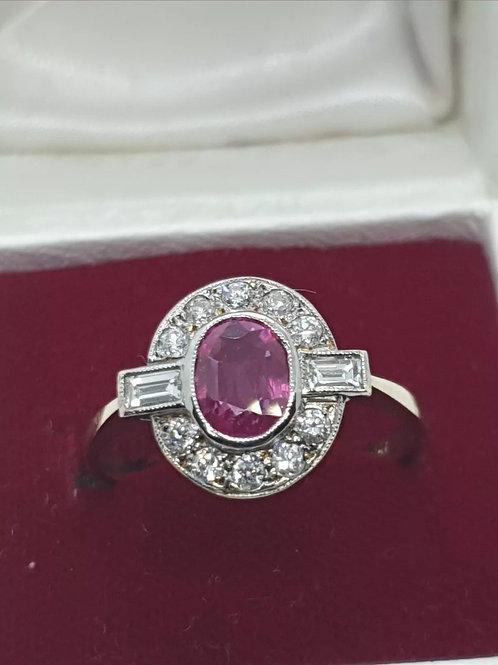 18ct Pink Sapphire & Diamond Art Deco Style Ring