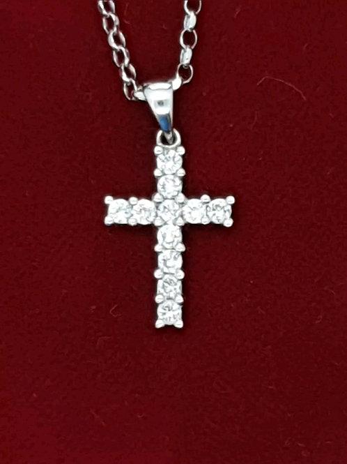 18ct White Gold Diamond Cross On 18ct White Gold Chain