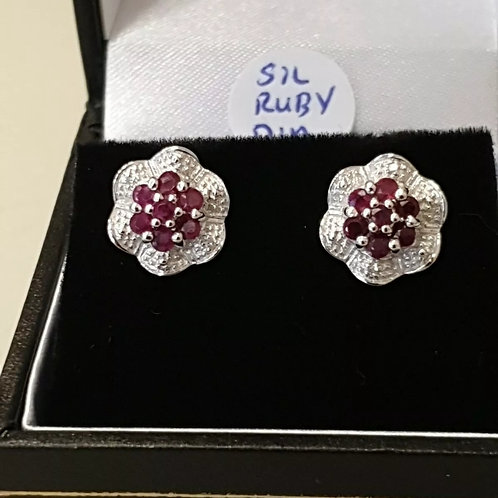 BRAND NEW Sterling Silver Ruby And Diamond Stud Earrings