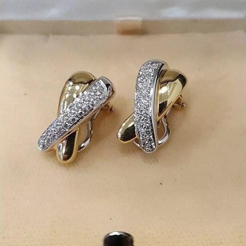 18ct Diamond (X) cross Earrings, Clip on, white/yellow gold
