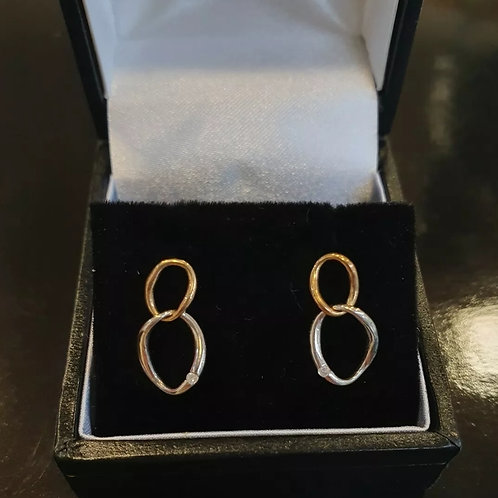 9ct Yellow And White Gold Hot Diamond Stud Earrings