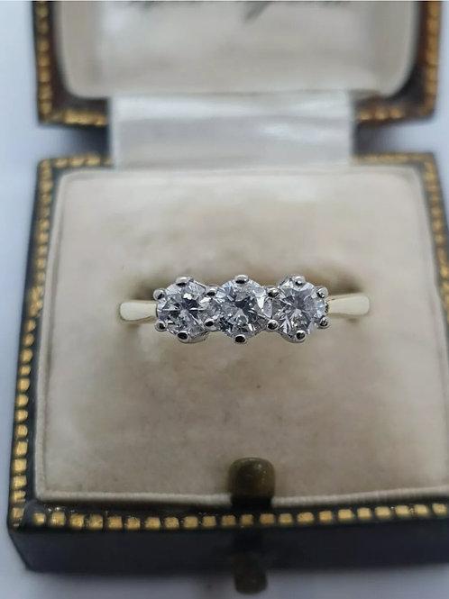 18ct Yellow Gold 3/4ct Diamond Three Stone/ Trilogy Ring