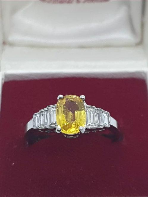 Platinum Yellow Sapphire & Diamond Art Deco Style Ring