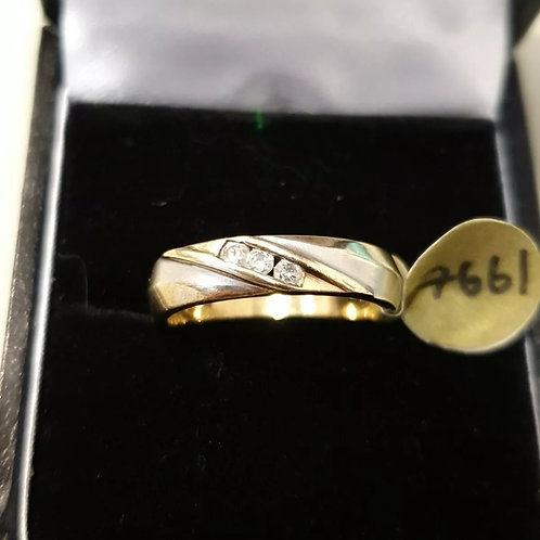 9ct Diamond Band Ring White and Yellow Gold