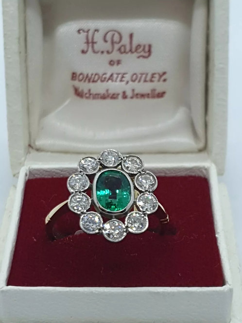 18ct yellow gold, emerald and diamond cluster ring