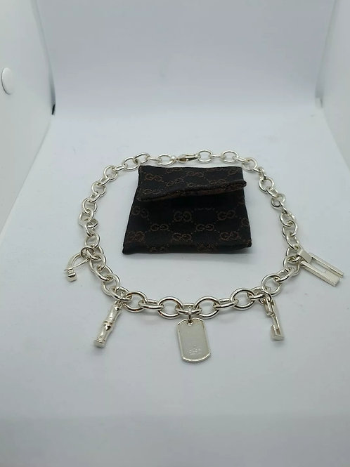 Solid Silver Gucci Necklace Logo / Charm Necklace