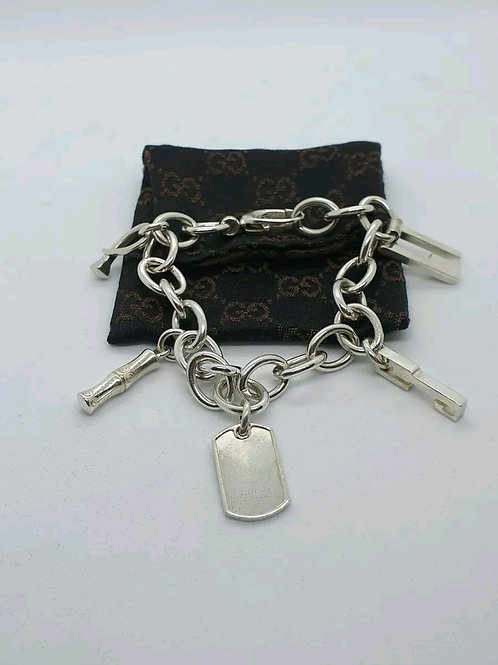 Solid Siver Gucci Logo Bracelet / Charm Bracelet