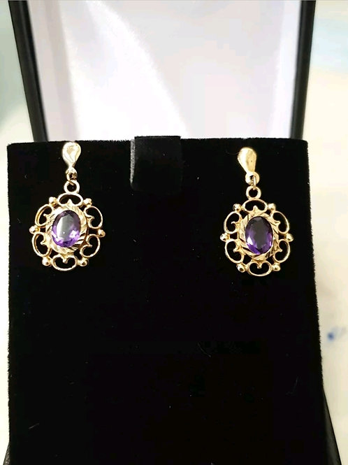 9ct Yellow Gold Amethyst Drop / Dangle Earrings