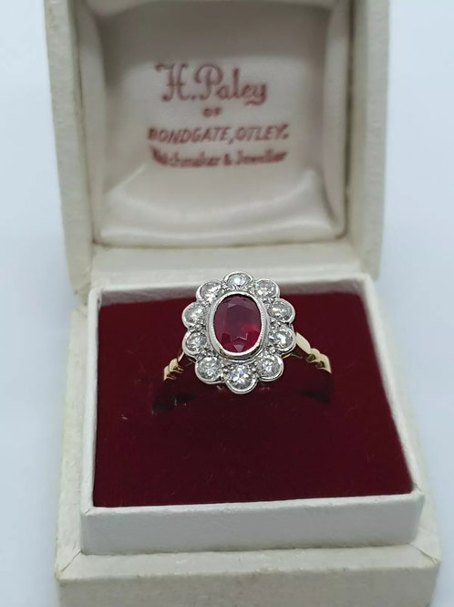 18ct yellow gold ruby and diamond cluster daisy ring