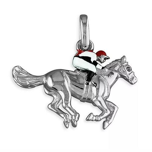 Horse & Jockey Sterling Silver 925 Pendant