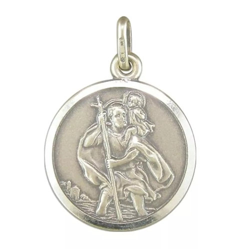 St Christopher, Sterling Silver 925, 18mm Diameter