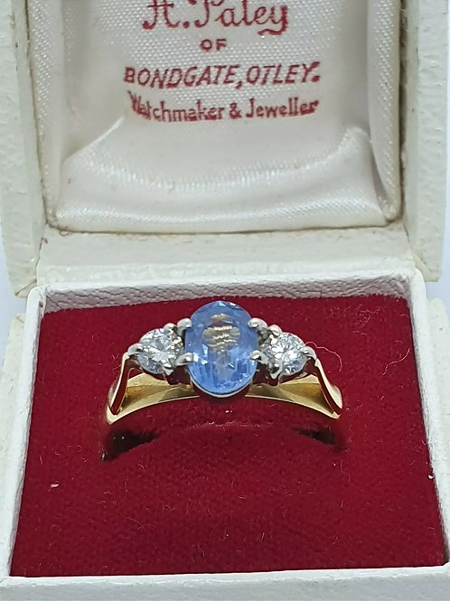 18ct Sapphire And Diamond Trilogy Ring
