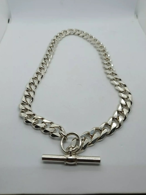 Sterling Silver 925, Curb Chain With T-Bar.
