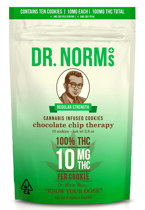 Dr. Norm's - Chocolate Chip Therapy - 10 Cookies (100mg THC)