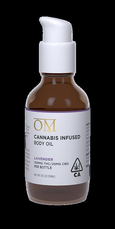 OM Body - Lavender Bath & Body Oil (100mg THC / 25mg CBD)