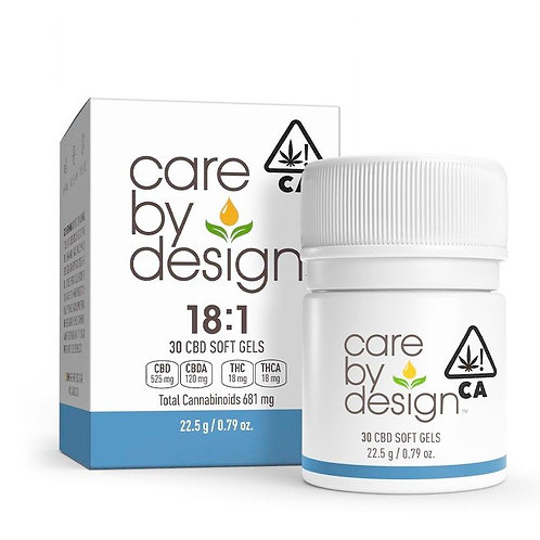 Care by Design - 18:1 Soft Gels (30 Count) (300mg CBD + 16.5mg THC)