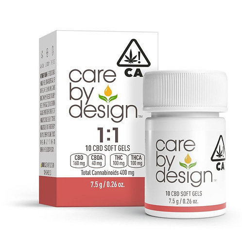 Care by Design - 1:1 Soft Gels (10 Count) (100mg CBD:THC)