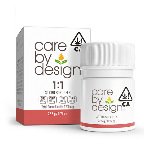 Care by Design - 1:1 Soft Gels (30 Count) (600mg CBD:THC)