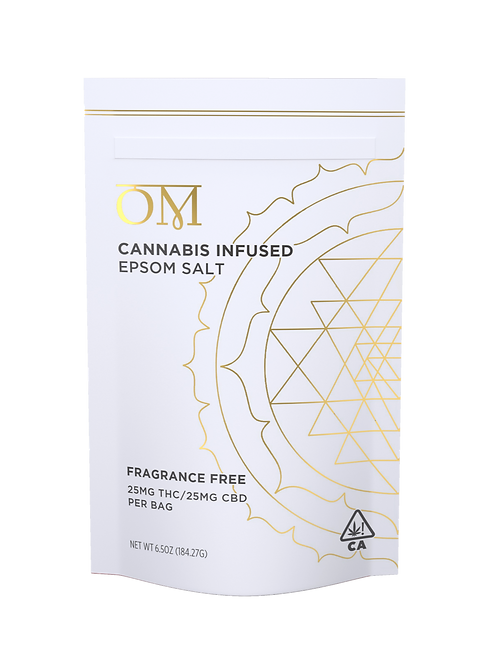 OM Body - Fragrance Free Bath Salt (Approx. 25mg THC / 25mg CBD)